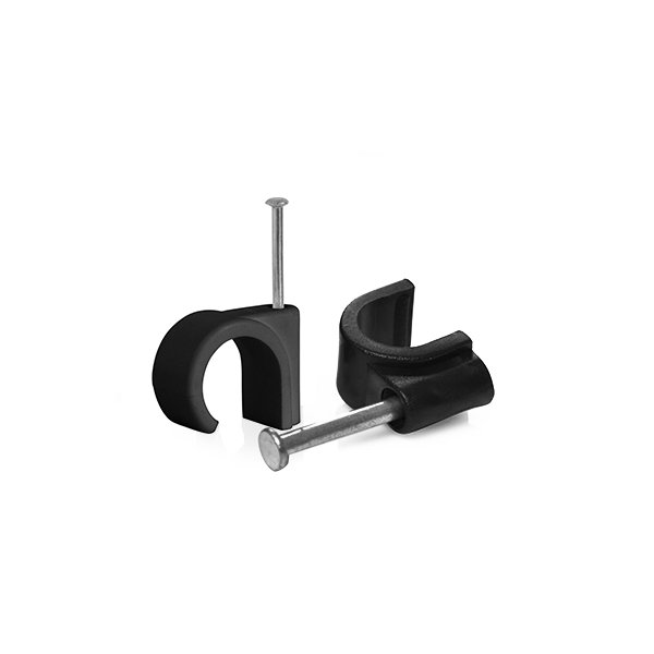 Cable Clips 5mm Black Round 100 Pack