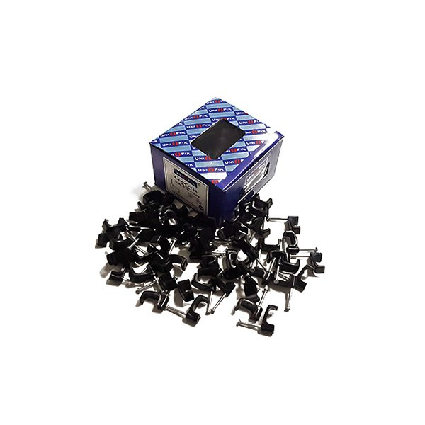 Cable Clips 4.0mm Black Flat Twin & Earth 100 Pack