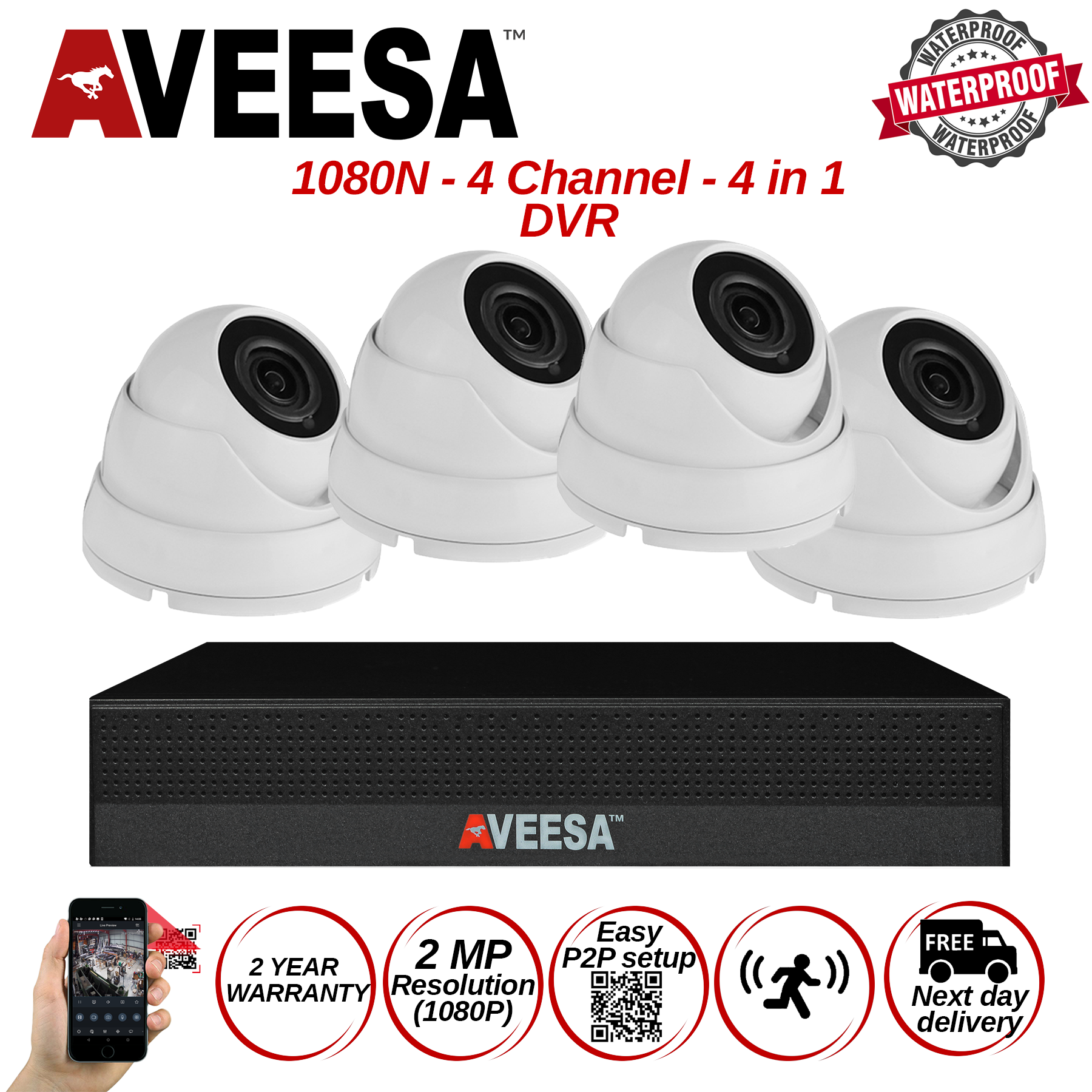 2MP Sony CCTV Camera Home Security System kit Aveesa 4 channel 1080N 4 IN 1 DVR